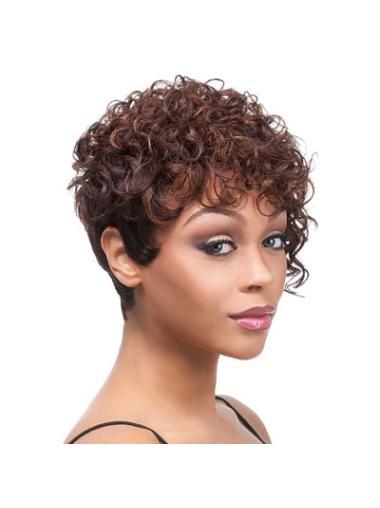 Tempting Auburn Curly Short African American Wigs