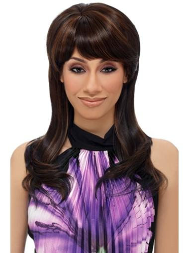Glamorous Brown Straight Long African American Wigs