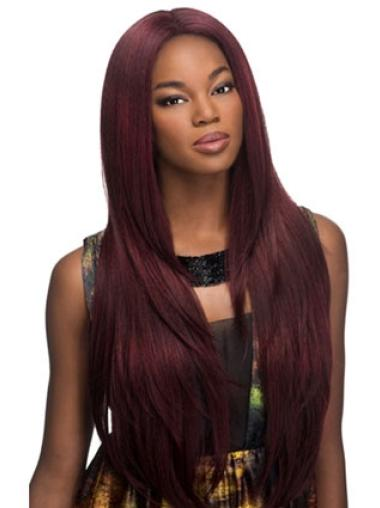 Stylish Red Straight Long Glueless Lace Front Wigs
