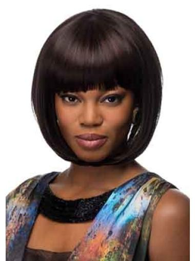 Trendy Black Straight Chin Length African American Wigs