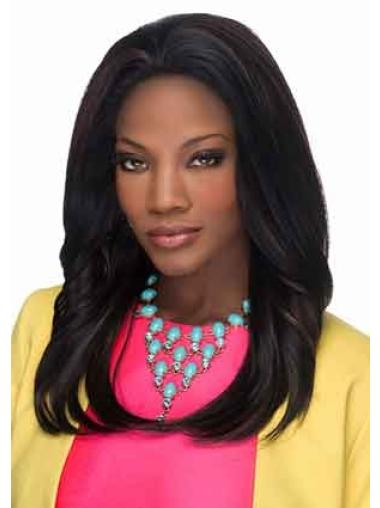 Radiant Black Straight Long Glueless Lace Front Wigs