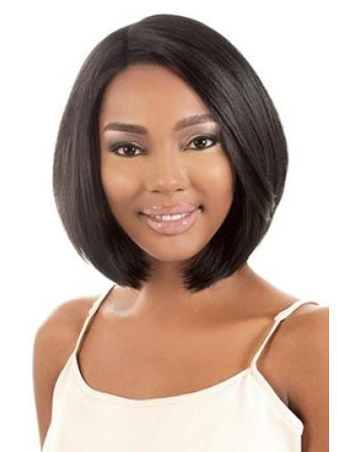 Black Straight Synthetic Glamorous Medium Wigs