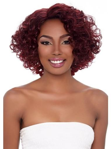 Traditiona Red Curly Chin Length African American Wigs