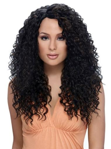 Traditiona Black Curly Long African American Wigs