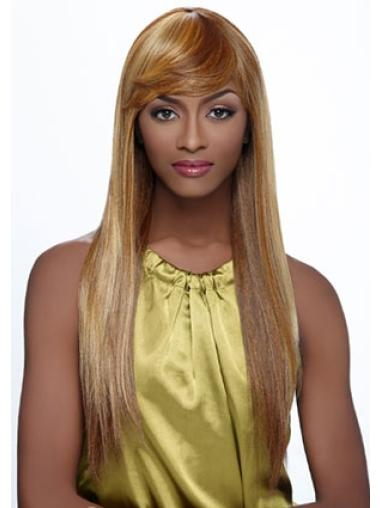 Polite Blonde Straight Long African American Wigs