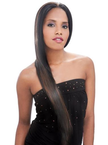 Sassy Brown Straight Long African American Wigs