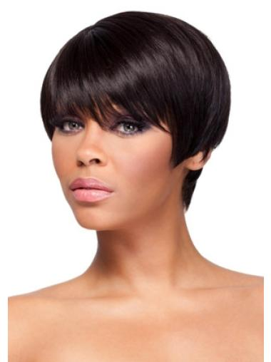 Cool Auburn Straight Cropped African American Wigs