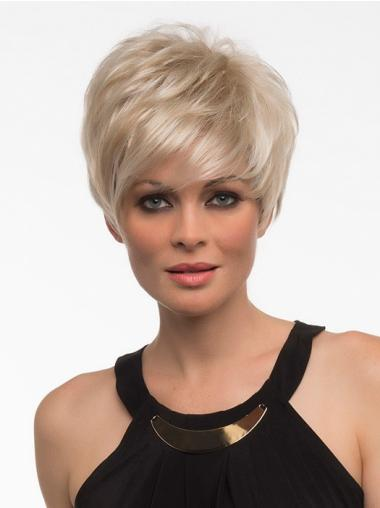 Elegant Blonde Straight Short Synthetic Wigs