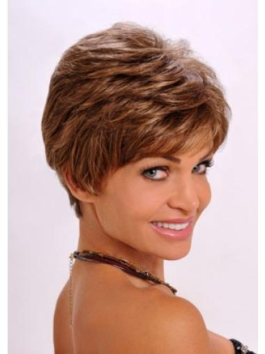 Refined Auburn Wavy Cropped Synthetic Wigs