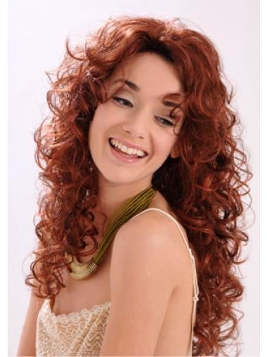 Gentle Auburn Curly Long Synthetic Wigs
