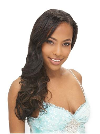 Natural Black Wavy Long African American Wigs