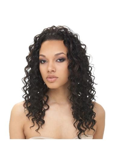Trendy Black Curly Long Glueless Lace Front Wigs