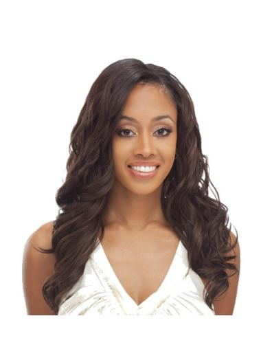 Faddish Brown Wavy Long African American Wigs