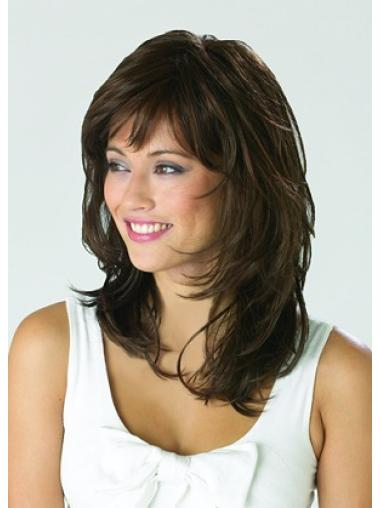 Monofilament Shining Wavy Synthetic Medium Wigs