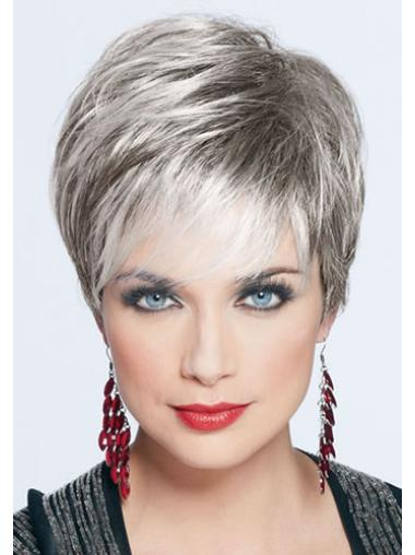 Suitable Monofilament Cropped Synthetic Grey Wigs
