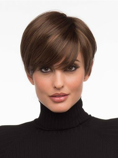 Monofilament Top Boycuts Straight Short Wigs