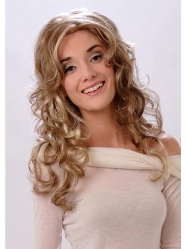 Blonde Wavy Synthetic Mature Long Wigs