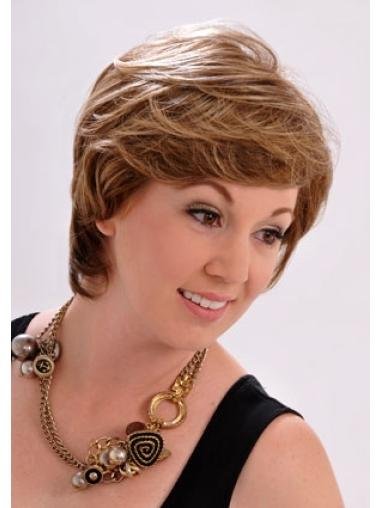 Monofilament Impressive With Bangs Straight Short Wigs