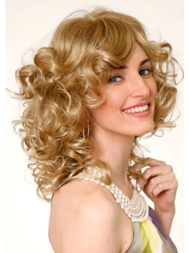 Blonde Curly Synthetic Shining Medium Wigs