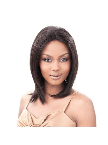 Flexibility Black Lace Front Shoulder Length Human Hair Wigs