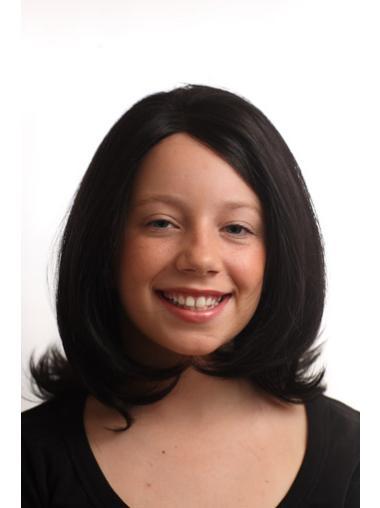 Durable Black Lace Front Shoulder Length Lace Wigs