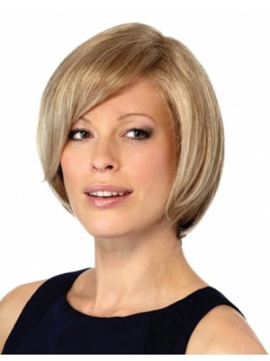 Elegant Blonde Monofilament Chin Length Wigs For Cancer