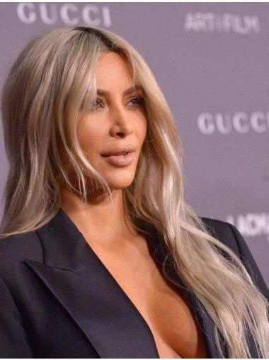 """Lace Front 22"""" Wavy Blonde Long Remy Human Hair Kim Kardashian Wigs"""