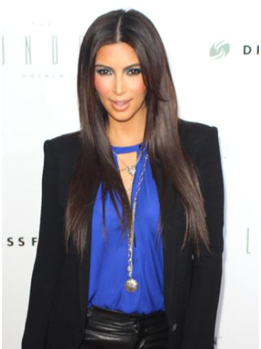 Unique Brown Straight Long Kim Kardashian Wigs