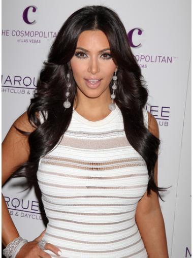 Stylish Black Wavy Long Kim Kardashian Wigs Kim Kardashian Human