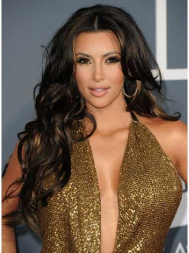 Shining Black Curly Long Kim Kardashian Wigs
