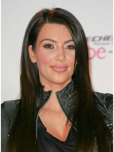Radiant Black Lace Front Long Kim Kardashian Wigs