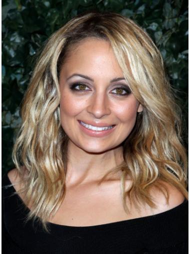 Trendy Blonde Wavy Shoulder Length Celebrity Wigs
