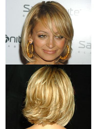 Exquisite Blonde Wavy Chin Length Celebrity Wigs