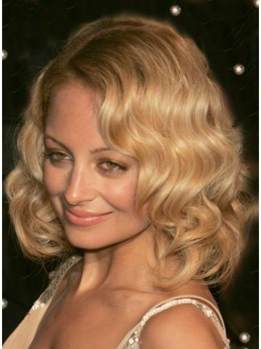 Fabulous Blonde Wavy Shoulder Length Celebrity Wigs
