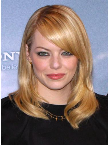Mature Blonde Lace Front Shoulder Length Celebrity Wigs