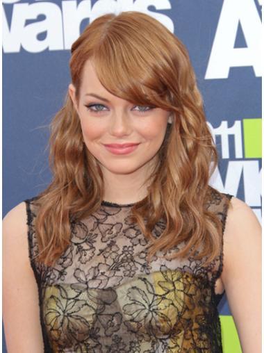 Ideal Auburn Wavy Shoulder Length Celebrity Wigs