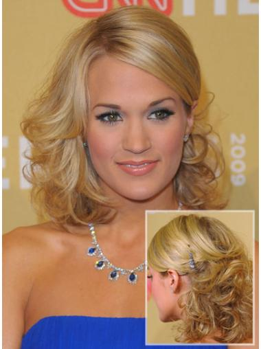 No-fuss Blonde Curly Shoulder Length Celebrity Wigs