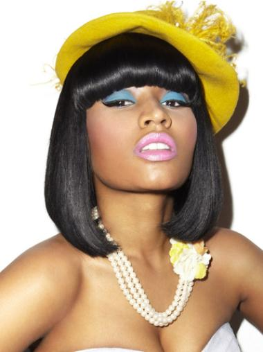 No-fuss Black Straight Shoulder Length Nicki Minaj Wigs