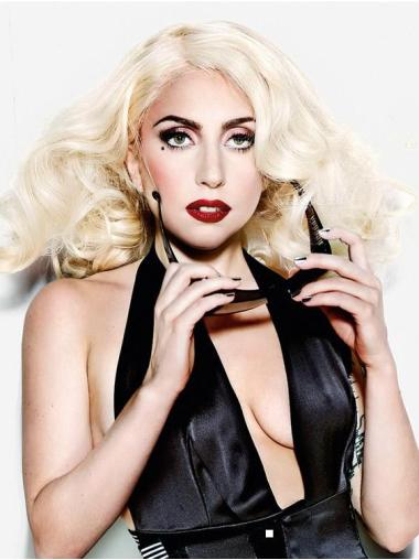 Ideal Blonde Curly Shoulder Length Lady Gaga Wigs