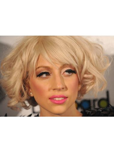 New Blonde Curly Chin Length Lady Gaga Wigs