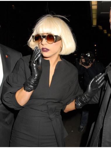 High Quality Blonde Straight Chin Length Lady Gaga Wigs