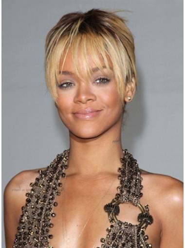 Fabulous Blonde Straight Cropped Rihanna Wigs