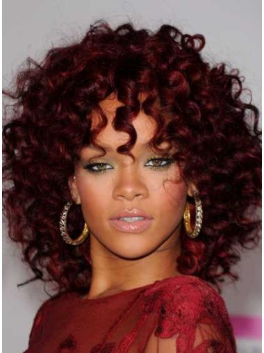Natural Lace Front Curly Shoulder Length Rihanna Wigs