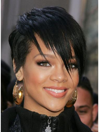 Traditiona Black Lace Front Cropped Rihanna Wigs
