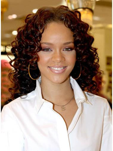 Tempting Auburn Curly Shoulder Length Rihanna Wigs