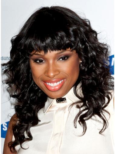 Faddish Black Curly Shoulder Length Jennifer Hudson Wigs