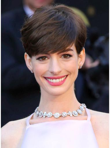Fashionable Brown Straight Cropped Anne Hathaway Wigs