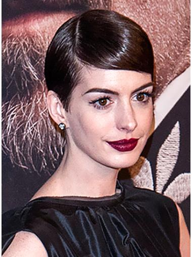 Good Brown Straight Cropped Anne Hathaway Wigs