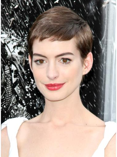 Gorgeous Lace Front Straight Cropped Anne Hathaway Wigs