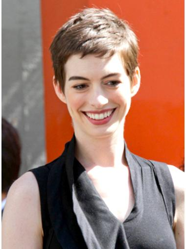 High Quality Brown Straight Cropped Anne Hathaway Wigs